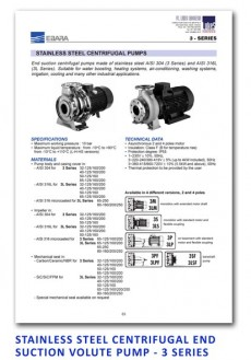 Ebara Stainless Steel Centrifugal End Suction Volute Pump - 3 Series