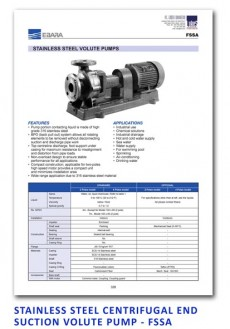 Ebara Stainless Steel Centrifugal End Suction Volute Pump - FSSA