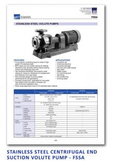 Ebara Stainless Steel Centrifugal End Suction Volute Pump - FSSA