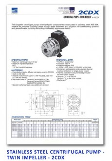 Ebara Stainless Steel Centrifugal Pump - Twin Impeller - 2CDX