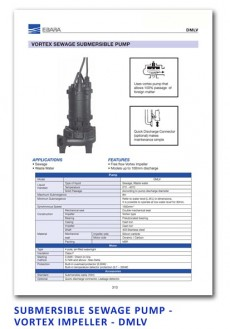 Ebara Submersible Sewage Pump - Vortex Impeller - DMLV