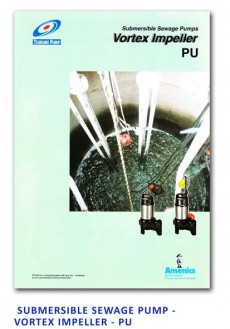 Tsurumi Submersible Sewage Pump - Vortex Impeller - PU