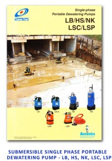 Tsurumi Submersible Single Phase Portable Dewatering Pump - LB-HS-NK-LSC-LSP