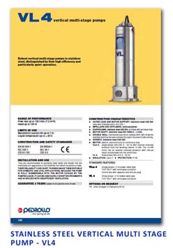 21 Pedrollo Stainless Steel Vertical Multi Stage Pump - VL4
