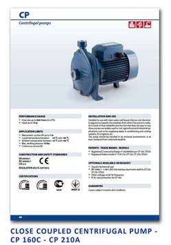 4 Pedrollo Close Coupled Centrifugal Pump - CP 160C - CP 210A