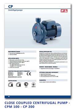 5 Pedrollo Close Coupled Centrifugal Pump - CPm 100 - CP 200