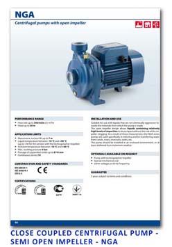 9 Pedrollo Close Coupled Centrifugal Pump - Semi Open Impeller - NGA